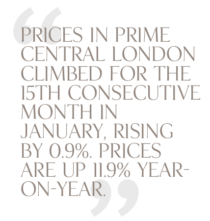 Prices in Prime Central London climbed January 2012