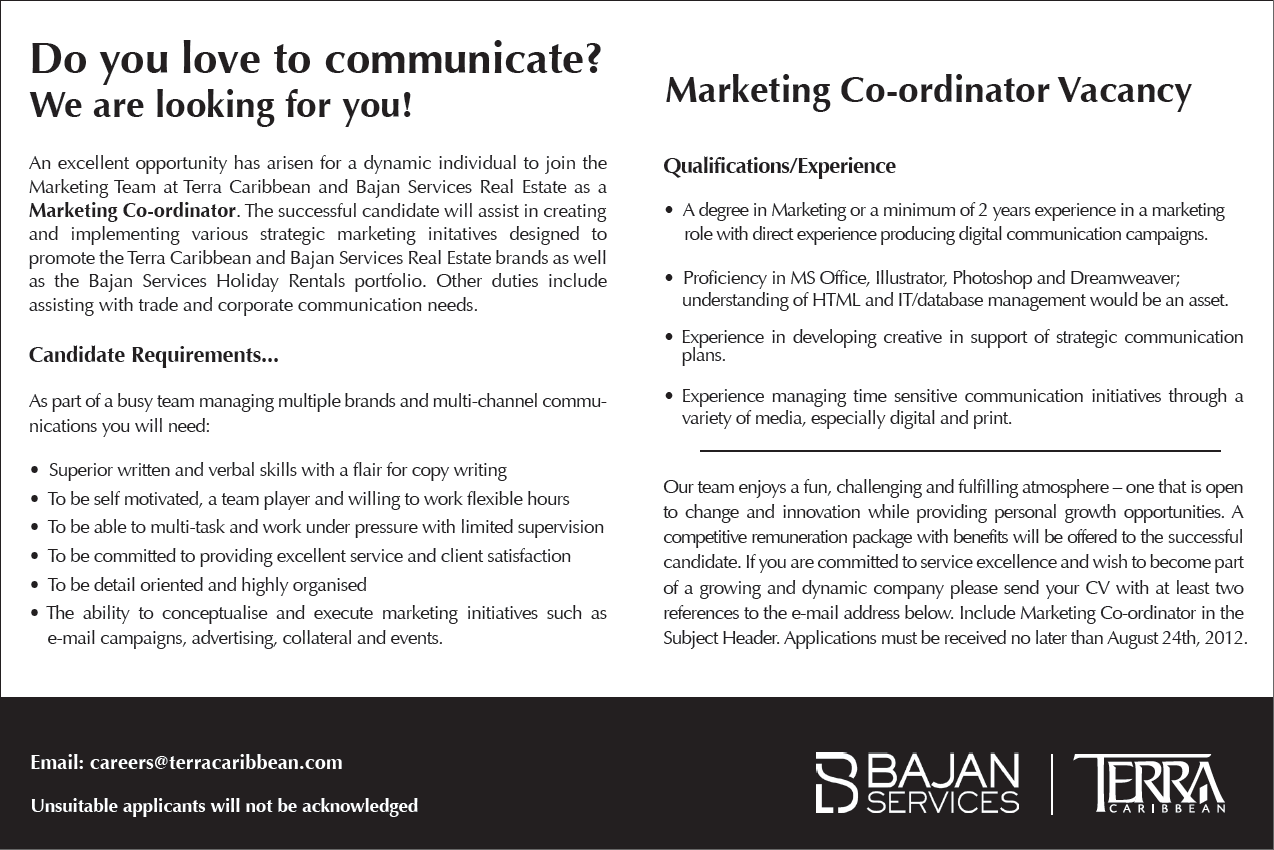 Marketing Co-ordinator Vacancy