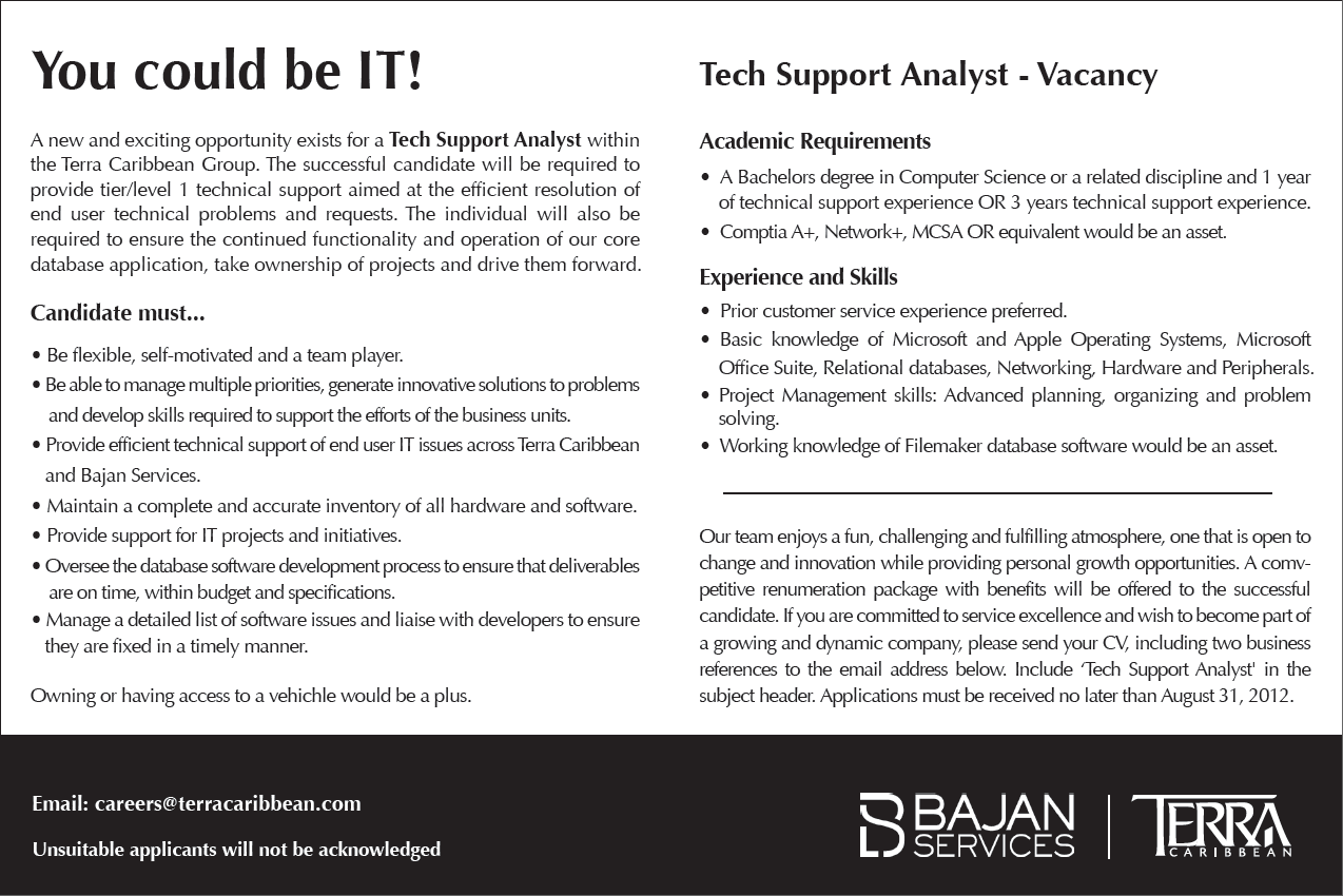 Tech Support Analyst